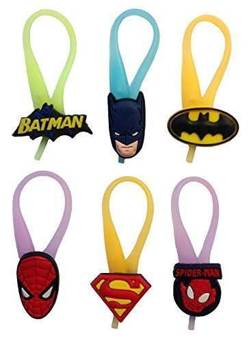Price comparison product image Batman and Spiderman Luminescent Colorful Silicone Snap Lock Zipper Pulls 6 Pcs Set #1