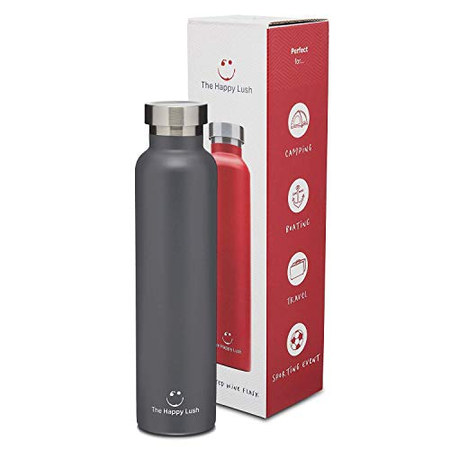 The Happy Lush Gray 750 ml Insulated Wine Flask with Lid - Stainless Steel, Double Walled Vacuum Insulated Travel Bottle & Wine Growler for Hot and Cold Beverages
