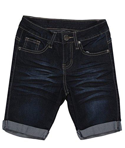 Denim Bermuda Stretch Shorts - K6-170295AN(BR) - Girls' Stretch 5 Pockets Premium Bermuda Denim Jeans Shorts in Dark Blue Size 12 (MLG1)
