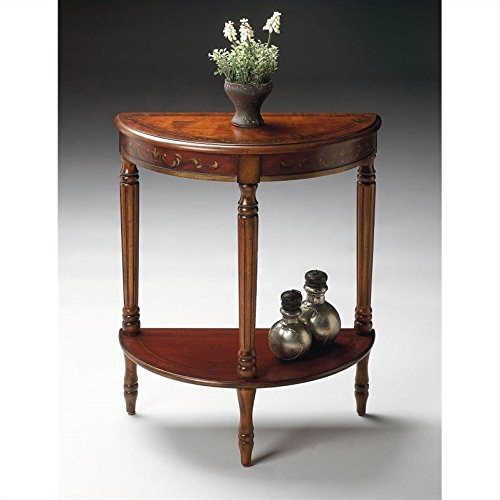Butler Specialty Company 889176 Bellini Hand Painted Demilune Console Table, Cherry and Red