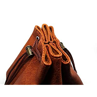 Brown Leather Lite Large Dice Bag with Celtic Knot Dragon Design - Brown Faux Leather Exterior with Lined Interior - Stands Up on its Own and Holds 400 16mm Polyhedral Dice: Home Improvement