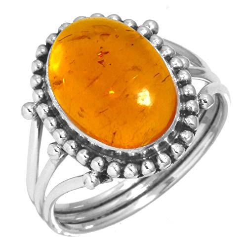 Amber Ring 925 Sterling Silver Handmade Jewelry Size 5