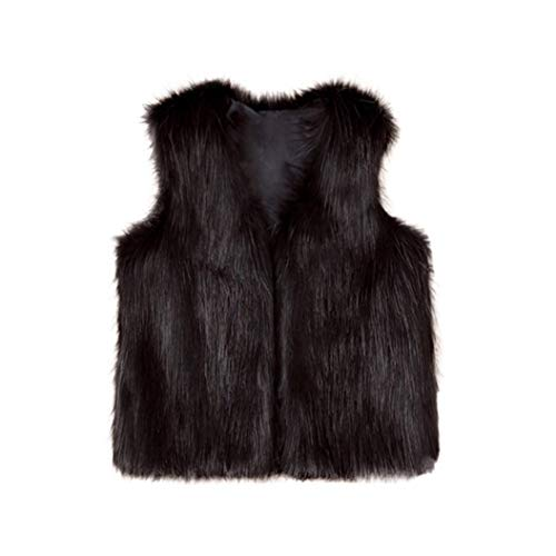 Moonker Girls Faux Fur Waistcoat 3-8 Years Old,Baby Girls Children Kids Winter Warm Clothes Thick Vest Coat Outwear (7-8 Years Old, Black)