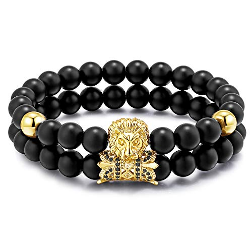 Charms Beaded Black (Meangel Charm Beads Bracelet for Men Women Black Matte Onyx Stone Beads Tiger Head Handmade Jewelry Set)
