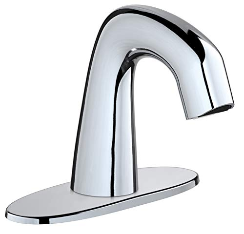 Chicago Faucets EQ-A12A-11ABCP EQ Curved 0.5 GPM Centerset Bathroom Faucet - Includes Batteries