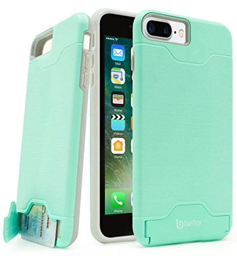 iPhone 7 Plus Case, Bastex Hybrid Slim Fit Grey Rubber Silicone Cover Hard Plastic Teal Brushed Metal Design Kickstand Case with Hidden Credit Card Slot for Apple iPhone 7 Plus