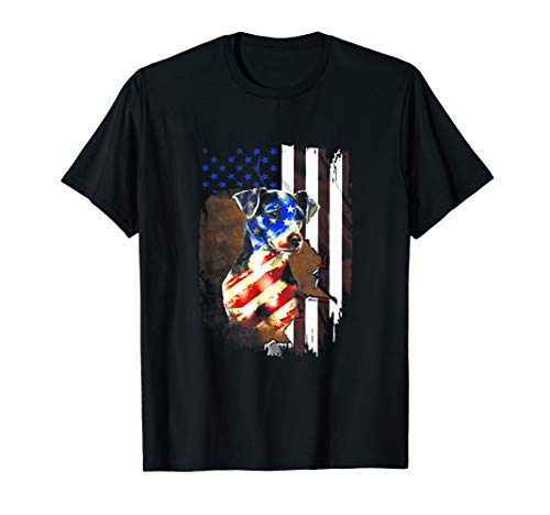 Jack Russell Terrier Smile Flag T Shirt American flag happy