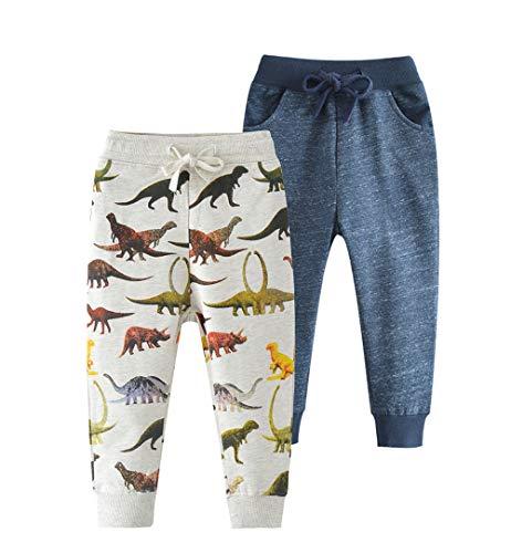 HUAER& Baby Boys Jogger Pants Dinosaur Car Animal Print Drawstring Elastic Sweatpants (1-Pack 2-Pack)