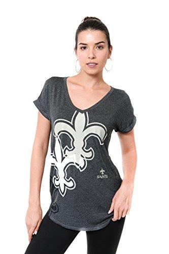 Icer Brands NFL New Orleans Saints Women's T-Shirt V-Neck Soft Modal Tee Shirt, Large, Gray