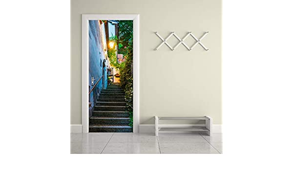 San Marino Old Street 3D Beautiful Landscape Door Stickers For Living Room Bedroom PVC Adhesive Wallpaper Home Decor Waterproof Mural Decal 77x200cm: Amazon.es: Bricolaje y herramientas
