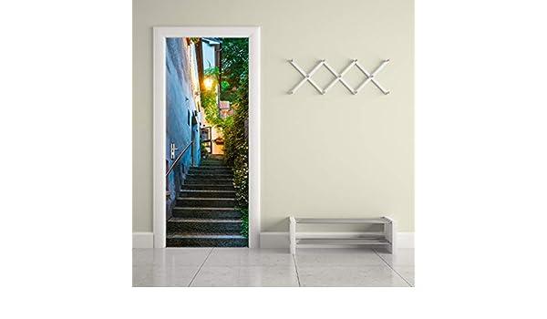San Marino Old Street 3D Beautiful Landscape Door Stickers For Living Room Bedroom PVC Adhesive Wallpaper Home Decor Waterproof Mural Decal 77x200cm: Amazon.es: Bricolaje y herramientas