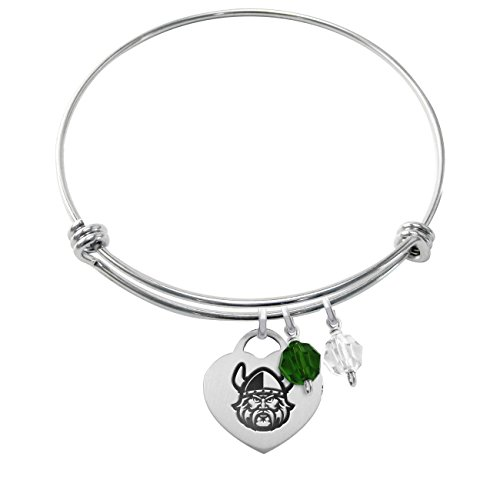 Cleveland State Vikings Stainless Steel Adjustable Bangle Bracelet with Heart Charm & Crystal Accents
