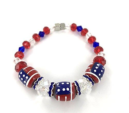 Americana USA Flag Patriotic Stretch Bracelet Women – Military Pride Bracelet Bangle Gift – Premium Glass Bead Bracelet - Hand Painted Bracelet for Women 7.5