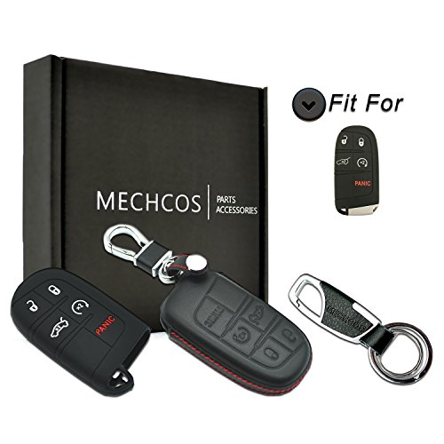 - MECHCOS Compatible with fit for M3N-40821302 Chrysler Dodge Jeep 5 Button Leather Keyless Entry Remote Control 5 Buttons Smart Key Fob Cover Pouch Bag Jacket Case Protector Shell