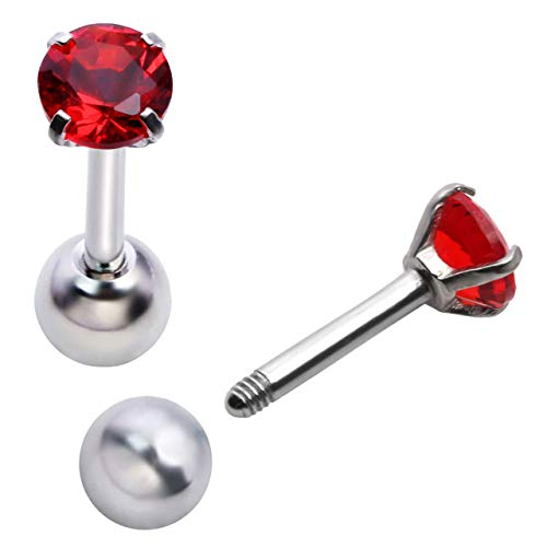 - Zysta Pair Red Cubic Zirconia 16G Earring Studs Round Rhinestone Diamond Stainless Steel Post Back Ball Screw Men Women Boy Girl Nose Helix Cartilage Ear Lobe Small Cute Piercing Jewelry