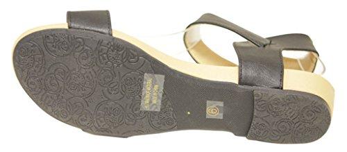 Bella Marie Birken-16 Womens open toe buckle ankle strap low wedge slingback sandals Black v5Cmi