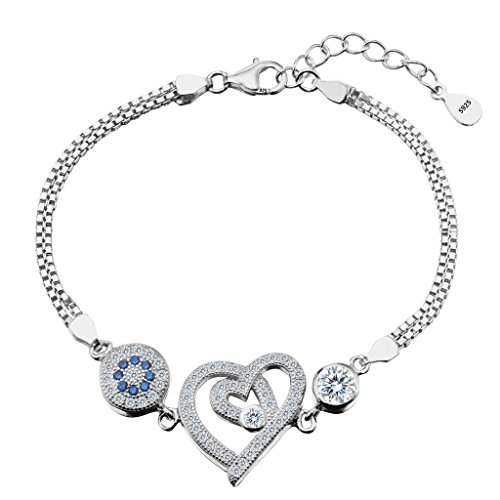 EleQueen 925 Sterling Silver CZ Round Evil Eye Double Strand Heart in Heart Bracelet (Evil Eye Heart Bracelet)