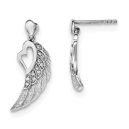 Sterling Silver CZ Cubic Zirconia Open Heart on Wings Post Drop Earrings (12mm x 25mm) (Wing Swarovski Open)