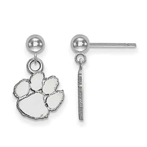 14k White Gold LogoArt Official Licensed Collegiate Clemson University (CU) Dangle Ball Earrings by LogoArt