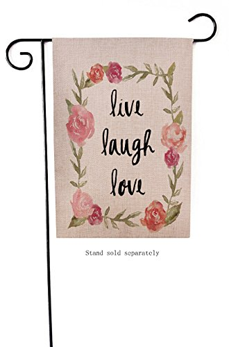 Dyrenson Home Decorative Outdoor Garden Flag Live Laugh Love Valentine's Day Holiday Rose Flowers Quotes, Garden Flag Floral Burlap Winter, Garden Yard Decorations, Watercolor Outdoor Flag 12 x 18 (Flag Summer Garden)