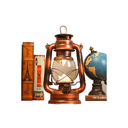 Zlshm LED Rechargeable Kerosene Lamp Battery Light Tent Light Camping Light Lantern Camp Light, Bronze