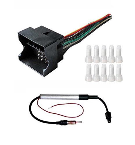 ASC Audio Car Stereo Radio Wire Harness and Antenna Adapter to Aftermarket Radio for VW/Volkswagen 09-14 CC, 07-11 EOS, 03-14 Golf, 03-15 Jetta, 03-15 Passat, 06-09 Rabbit, 04-10 Touareg, 09-15 Tiguan