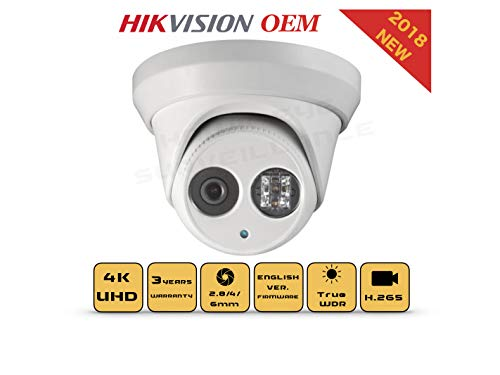 4K PoE Security IP Camera – Compatible as Hikvision DS-2CD2385FWD-I UltraHD 8MP Turret Onvif IR Night Vision Weatherproof WideAngle 2.8mmLens Best Home Business Security, 3 Year Warranty