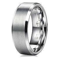 Three Keys 8mm Tungsten Wedding Ring for Men Brushed Center Beveled Edge Wedding Band Engagement Ring