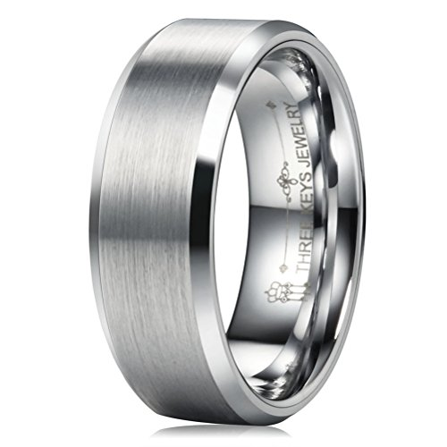 THREE KEYS JEWELRY 8mm Men's Tungsten Wedding Ring for Men Brushed Finish Center Beveled Edge Wedding Band Engagement Ring Size 13.5 ()