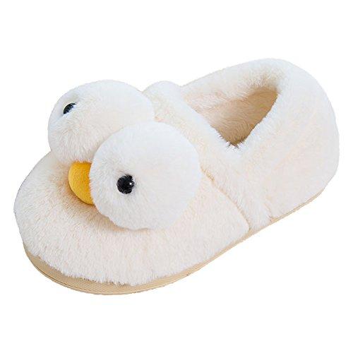 Eastlion Damen Winter Home Innenbereich Warm Halten Draussen Lovely Gelbe Ente Plüsch Hausschuhe Schuhe Beige Schuhe