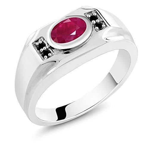 Gem Stone King 2.02 Ct Oval Red Ruby & Black Diamond 925 Sterling Silver Men's Ring (Size 7) (Vintage Mens Diamond Rings)
