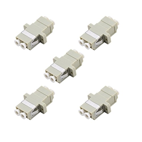 LC Fiber Optic Adapter - Comm Cable LC to LC Duplex Multimode Coupler - 5 Pack - Beige by Comm cable