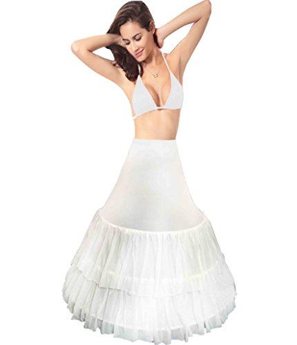 B&H Bridal Petticoat 3 Bone Full Flounce Elastic Waist Crinoline ()