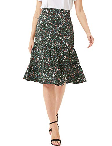 (KANCY KOLE Womens A Line Floral Print Midi Skirt with Ruffle (2XL,Flower Pattern Black))