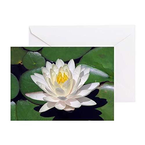 CafePress - White Lotus Horizontal - Greeting Card, Note Card, Birthday Card, Blank Inside Glossy