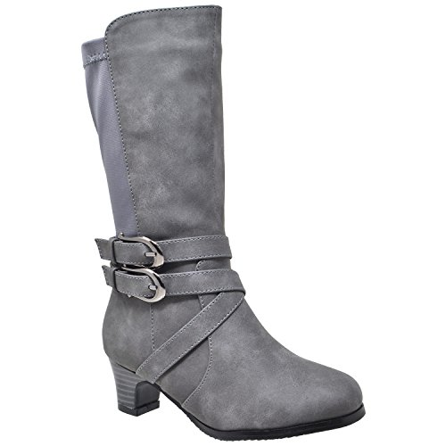 Girls High Heel Boots (Generation Y Kids Girls Knee High Boots Faux Leather Buckle Straps Low Heel Riding Shoes Gray SZ 2 Youth)