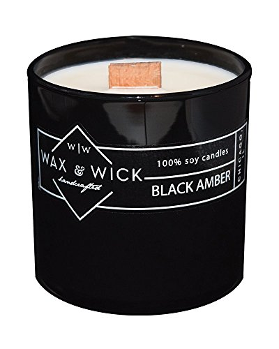 Scented Soy Candle: 100% Pure Soy Wax with Wood Double Wick | Burns Cleanly up to 60 Hrs | Black Amber Scent with Notes of Vanilla, Cream, Sandalwood & Musk | 12 oz. Black Jar by Wax and Wick