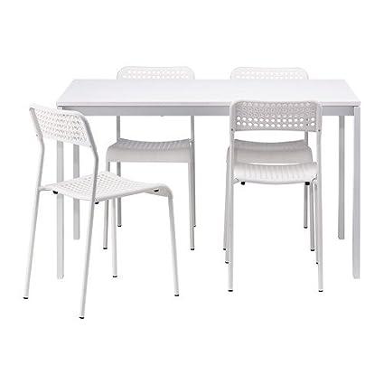 IKEA MELLTORP / ADDE - mesa y 4 sillas, blanco - 125 cm: Amazon.es ...