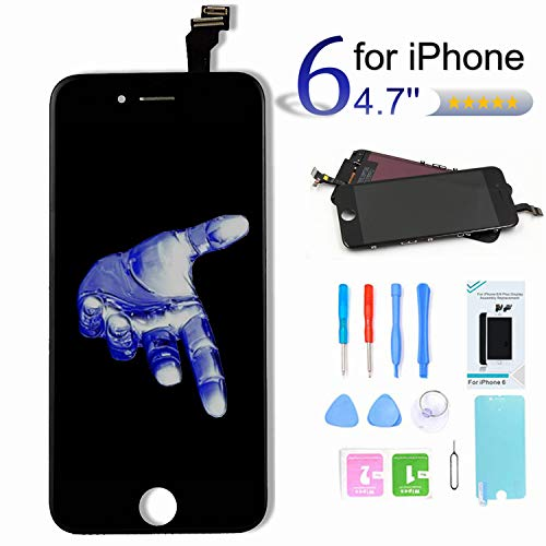 Pushang Screen Replacement for iPhone 6 (4.7 Inch) Touch Digitizer LCD Display Assembly + Full Repair Tools + Screen Protector,Compatible with Model A1549, A1586, A1589 (Black)