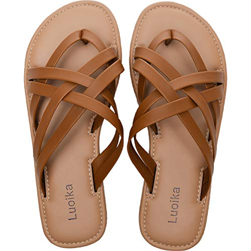 Women's Wide Width Slide Sandals - Slip On Flat Cross Strap Casual Summer Shoes.(190102,Brown,8.5)