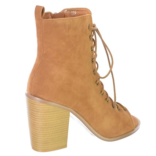NEW ZIP GLADIATOR SIZE Tan WOMENS Suede OPEN BLOCK 3 BOOTS 6 SHOES PEEP Faux 8 UP HIGH ANKLE LACE HEEL LADIES 7 4 5 TOE EcZEFW5
