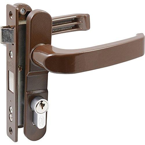 Lock 12CL Cerradura Para Puerta de Aluminio, Modelo Euro Doble, color Café