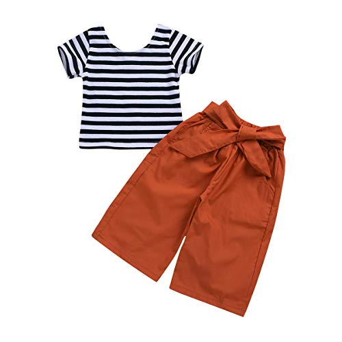 YOUNGER TREE Toddler Baby Girls Stripe Short Sleeve T-Shirt +Bow Tie Wide-Leg Pants 2Pcs (Stripe, 6-12 Months)
