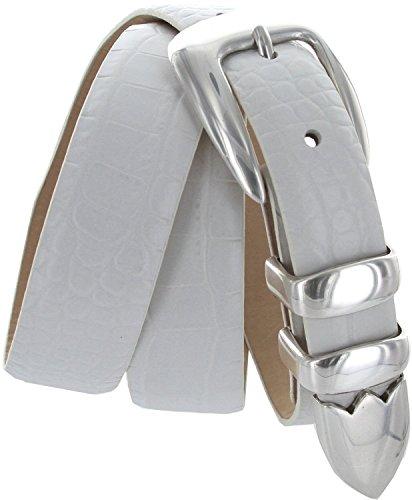 S5525 Men's Italian Leather Designer Dress Belt (Alligator White, - Designer Leather Italian White