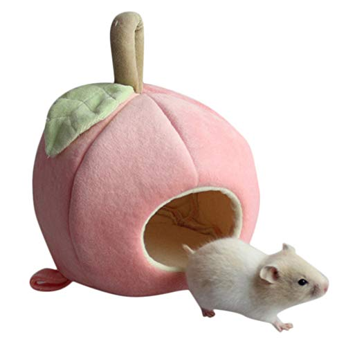Cute Plush Winter Warm Hamster Hedgehog Rat Squirrel Nest Bed House Guinea Pig Bed Nest Pad Cage Pet Supply Hamster Warm Nest For Rat Hedgehog Squirrel House Guinea Pig Sweet Room House (Pink) -
