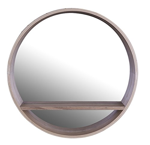 ArtMaison.ca 20x4 Circle, Wooden Shelf Mirror, Medium, Brown
