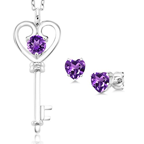 - 1.25 Ct Round Purple Amethyst 925 Sterling Silver Key Pendant Earrings Set