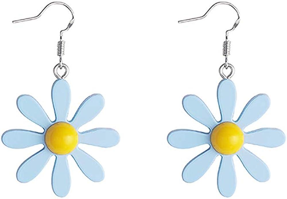 YOOE Acrylic Yellow Flower Daisy Dangle Earring. Cute Sun Flower Pendant Earrings, Wild Lily Petals Hawaii Plant Earrings