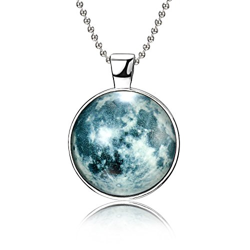 RINHOO Magical Fairy Glow in The Dark Moon Bead Chain Pendant Necklace White Gold Plated (Style - Bead Captured
