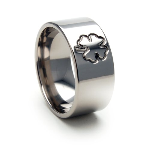 Custom Milled By The Jewelry Source 10mm Four Leaf Clover Ring 4 Leaf Clover Rings Irish Jewelry Custom Titanium Rings For Men Sz ()